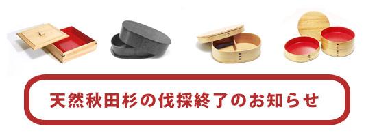 天然秋田杉の伐採終了のお知らせ