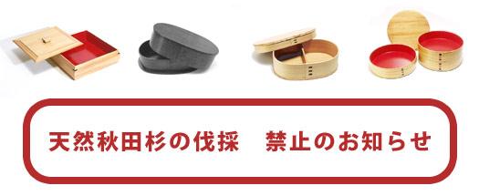 天然秋田杉の伐採 禁止のお知らせ