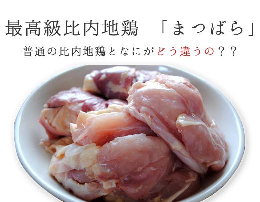 秋田県の松原地区で生産されている比内地鶏、「まつばら」。 普通の比内地鶏と何か違い、何が最高級なのか。 それは秘密はズバリ、飼料にありました。 養鶏所の責任者の方に詳しくお話を聞いてみると、ある一定の大きさまで育った比内地鶏には、特別な製法で作られた飼料を加えるそうな。 (ちなみに、それまでは穀物などの飼料を与えているようです。) 比内地鶏「まつばら」は、他の鶏とは違う、特別な飼料を食べさせ育てた比内地鶏です!