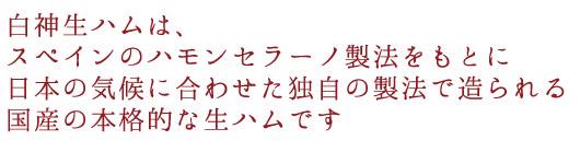 白神生ハムは、 スペインのハモンセラーノ製法をもとに 日本の気候に合わせた独自の製法で造られる 国産の本格的な生ハムです